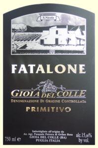 Etichetta Fatalone Gioia del Colle DOC Primitivo bio